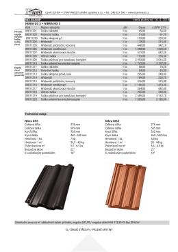 ceník platný od 10. 4. 2016 Orientační cena za m2 základních tašek