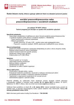 Inzerát ke stažení - Oblastní charita Jihlava