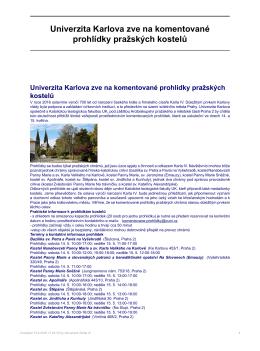 Univerzita Karlova zve na komentované prohlídky pražských kostelů