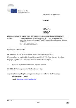 6941/16 JUR LANGUAGE concerned - Council votes on legislative