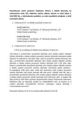 Pozměňovací návrh poslanců Vladislava Vilímce a Adolfa Beznosky