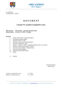 Oznámení o konání 19. zasedání Zastupitelstva obce.