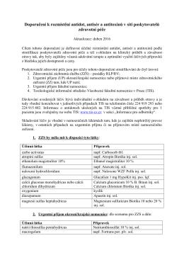 Doporučení k rozmístění antidot, antisér a antitoxinů v síti