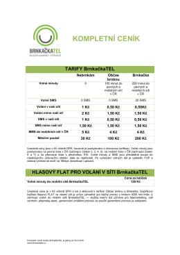 Kompletní ceník služeb od 01.5.2016