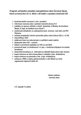 Program zasedání zastupitelstva dne 14.04.2016