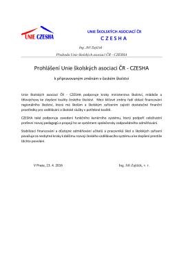 Prohlášení Unie školských asociaci ČR