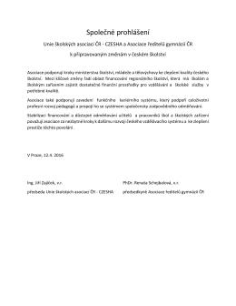 Společné prohlášení Unie školských asociaci ČR 2016