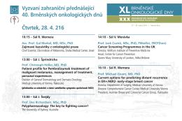 Přednášky zahraničních řečníků - čtvrtek 28. dubna 2016
