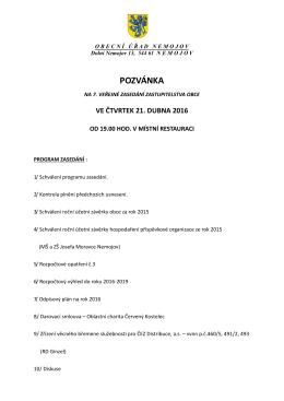 Pozvánka na 7. zastupitelstvo 21.04.2016
