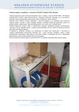Nařízení sanitace a desinfekce v restauraci FARAON, Cihelní 1345