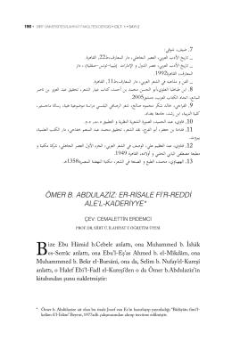 ömer b. abdulaziz: er-risale fi`r-reddi ale`l-kaderiyye*47