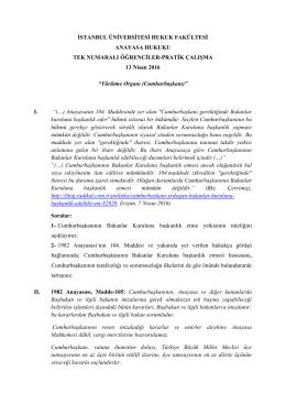 Anayasa Hukuku Dersi (Tek) Pratik Çalışma (13 Nisan 2016)