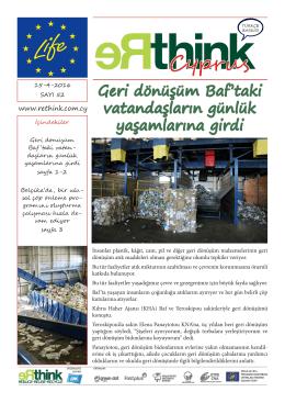 Kıbrıs`ta Atık Azaltması, Yeniden kullanımı ve Geri Dönüşümünün