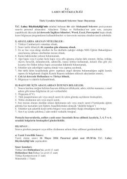TC LAHEY BÜYÜKELÇİLİĞİ Türk Uyruklu Sözleşmeli