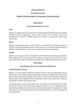 1 HARRAN ÜNİVERSİTESİ Sosyal Bilimler Enstitüsü ORİJİNALLİK
