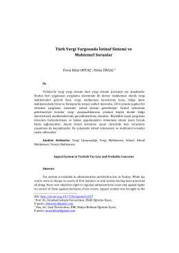 Türk Vergi Yargısında İstinaf Sistemi ve Muhtemel