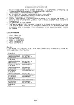 Sayfa 1 2015-2016 BAHAR KUPASI STATÜSÜ 1. KUPANIN