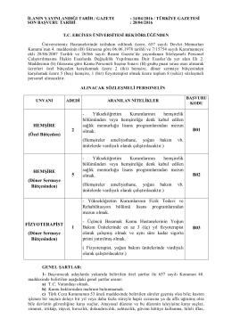 HEMŞİRE (Özel Bütçeden) 2 - Yükseköğretim
