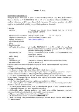 ihale ilanı - İskenderun Belediyesi