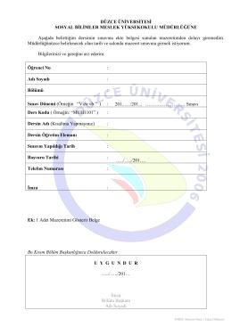 Düzce Üniversitesi Sosyal Bilimler Meslek Yüksekokulu