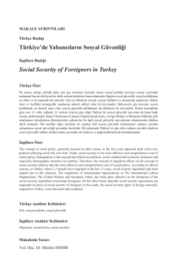 Türkiye`de Yabancıların Sosyal Güvenliği Social Security of