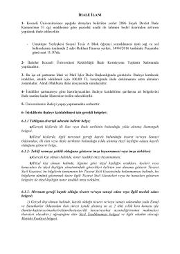 İHALE İLANI 1 - Kocaeli Üniversitesi