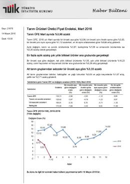 Tarım Ürünleri Üretici Fiyat Endeksi-(Mart 2016