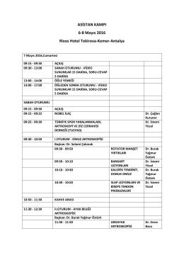 ASİSTAN KAMPI 6-8 Mayıs 2016 Rixos Hotel