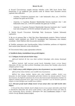 İHALE İLANI 1- Kocaeli Üniversitesince aşağıda detayları belirtilen