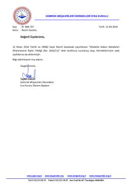 2016.04.12 İK-BŞK-33 İcra Kurulu Ortak Duyurusu