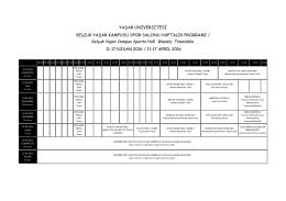 Spor Salonu Haftalık Programı - Yaşar Üniversitesi