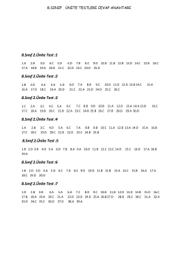 8.Sınıf 1.Ünite Test :2 8.Sınıf 2.Ünite Test :1 8.Sınıf 2.Ünite Test