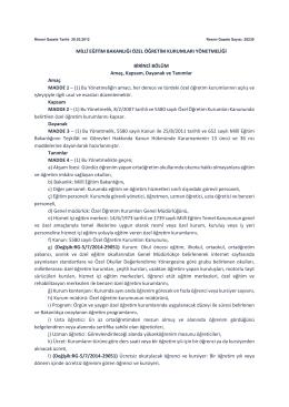 Milli Eğitim Bakanlığı Özel Öğretim Kurumları Yönetmeliği