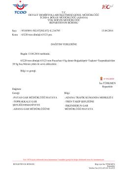 13.04.2016 - Devlet Demir Yollari 6.Bölge