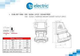 • 3108-307-1600 - CEE - 5x32A / IP 67 - DUVAR PRİZİ CEE
