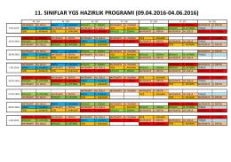 11. sınıflar ygs hazırlık programı (09.04.2016