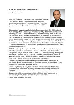 dr hab. inż. Janusz Smulko, prof. nadzw. PG prorektor ds. nauki