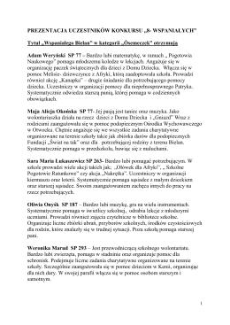 """PREZENTACJA UCZESTNIKÓW KONKURSU """"8"""