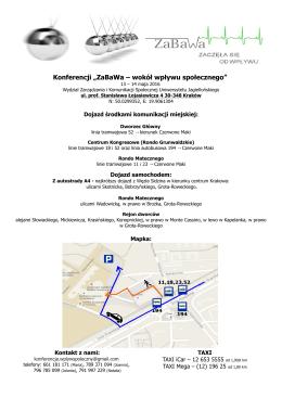 """Mapka dojazdowa - Konferencja """"Zabawa. Wokół wpływu"""
