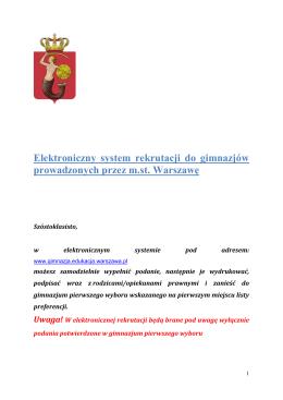 Uwaga! - Elektroniczny system ewidencji podań do gimnazjów