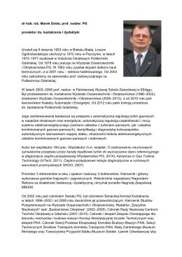 dr hab. inż. Marek Dzida, prof. nadzw. PG prorektor ds. kształcenia i