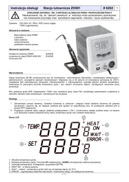 Instrukcja obsługi Stacja lutownicza ZD981 # 6202 1