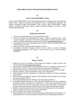 Regulamin Centrum Nauki EXPERYMENT format: pdf
