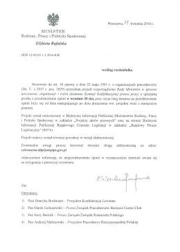 Pismo do organizacji pracodawców - Ministerstwo Rodziny, Pracy i