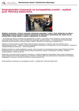 Amerykańskie innowacje na europejskiej uczelni – wykład prof