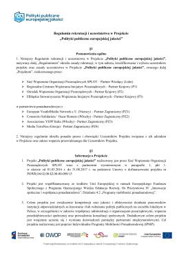 Regulamin rekrutacji - Gdyńskie Centrum Organizacji Pozarządowych
