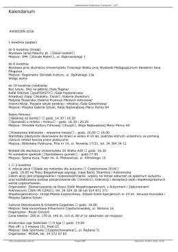 Kalendarium - Częstochowska Organizacja Turystyczna
