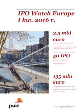 IPO Watch Europe I kw. 2016 r.