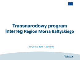 2. Program Interreg BALTIC SEA REGION