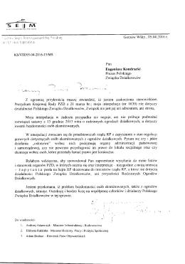 list posłanki krystyny sibińskiej